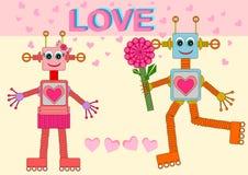 Robots dans l'amour Photographie stock