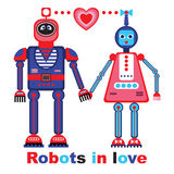 Robots dans l'illustration de vecteur d'amour Photo stock