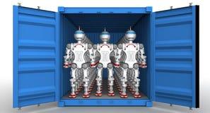 Robots dans le récipient de cargaison Photographie stock libre de droits