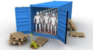 Robots dans le récipient de cargaison illustration stock