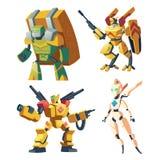 Robots de bande dessinée de vecteur - médecin, transporteur et soldat illustration de vecteur