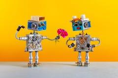 Robots de dates L'homme romantique de robot donne un bouquet des fleurs roses de roses à un robot femelle Service de rencontres o images stock