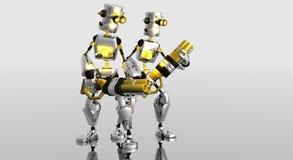 Robots de dessin animé avec des canons Photo libre de droits