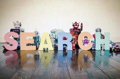 Robots de la búsqueda Imagen de archivo