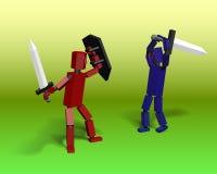 Robots de la batalla con las espadas Imágenes de archivo libres de regalías