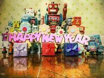 Robots de la Feliz Año Nuevo foto de archivo