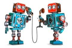 Robots del vintage que tienen una conversación telefónica ilustración 3D ISO Foto de archivo libre de regalías