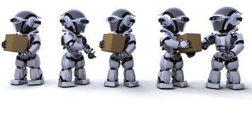 Robots die verschepende dozen bewegen Stock Afbeeldingen