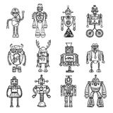 Robots Doodle stile Black Icons Set. Funny robots toys doodle style black icons pictures collection with tinker man and owl  vector illustration Stock Photo