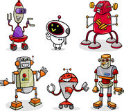 Robots or droids cartoon illustration set Royalty Free Stock Photography