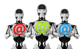 Robots with e-mail symbols Stock Images