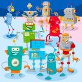 Robots en droids de groep van beeldverhaalkarakters vector illustratie