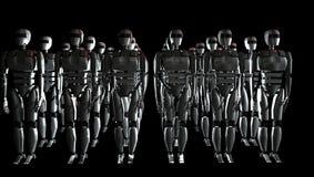 Robots en la fila ilustración 3D Fotos de archivo libres de regalías