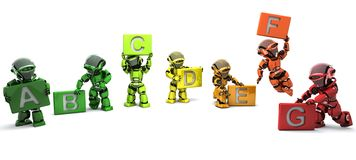 Robots with energy ratings signs Stock Photo