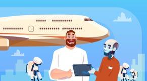 Robots et homme de Bot de causerie employant des billets de réservation de tablette sur l'intelligence artificielle d'aide virtue illustration stock