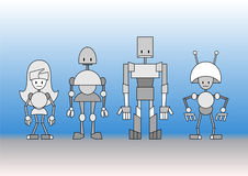Robots family Royalty Free Stock Photos