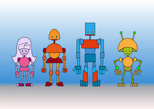 Robots family Stock Photos