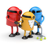 Robots family. Family of old robots cyclops help old robot with a crutch assisted by relatives Stock Photo