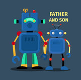 Robots father and son. Vector illustration on dark background Stock Image