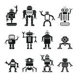 Robots fijados en diseño plano de la historieta Fotografía de archivo