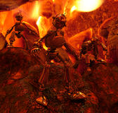 Robots in fire Royalty Free Stock Image