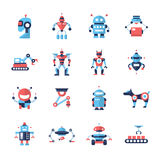 Robots - flat design icons set Royalty Free Stock Images