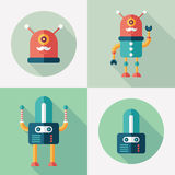 Robots flat square and round icons with long shadows. Set 13 Royalty Free Stock Photography