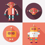 Robots flat square and round icons with long shadows. Set 14 Royalty Free Stock Image