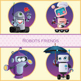 Robots friend, four cartoon character Royalty Free Stock Images