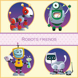 Robots friend, four cartoon character Royalty Free Stock Photo