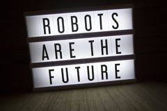 Robots are the future. `Robots are the future` text in lightbox royalty free stock photos