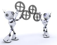 Robots with gears Stock Photography