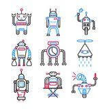 Robots graphic blue collection on white vector picture Royalty Free Stock Photo