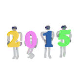 Robots greeting the new year. 3d render of four robots greeting the new year by holding 2015 sign on white background Stock Photography