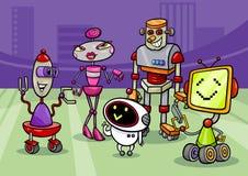 Robots group cartoon illustration Royalty Free Stock Image