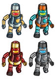 Robots. Group of Four Shiny Robots Walking vector illustration