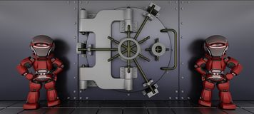 Robots guarding a bank vault. 3D render of a robots guarding a bank vault Royalty Free Stock Photos