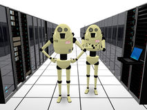 Robots guarding computers. Robots guarding computer center as concept of data and network security Royalty Free Stock Photography