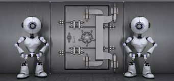 Robots guarding a vault. 3D Render of a Robots Guarding a vault Royalty Free Stock Image