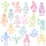 Robots Hand Drawn Doodle Set Stock Photography