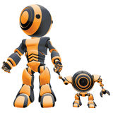 Robots hand in hand. Illustration of two robots walking hand in hand, isolated on white background Stock Image