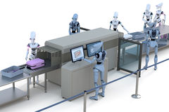 Robots having their luggage scanned Stock Image