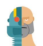 Robots head. Android and people. Iron person and man face. Cyber. Netic mechanism. Man of future Stock Photo