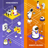 Robots Helpers Vertical Isometric Banners Stock Photo