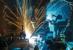 Robots het lassen Stock Foto