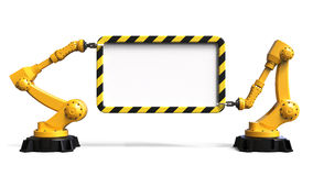 Robots holding a board. Industrial robots holding a board isolated on white background 3D rendering Stock Image