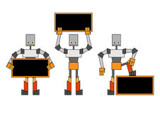Robots holding the placard Stock Images