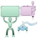 Robots holding signs Stock Photography