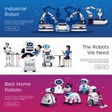 Robots Horizontale Banners stock illustratie