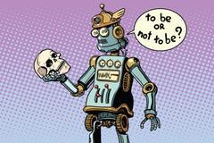 Robots and humanity, a scene from hamlet. Pop art retro vector illustration Stock Photo